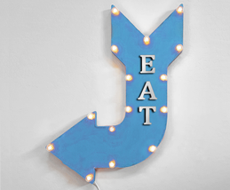 """24"""" EAT Curved Arrow Sign Light Up Rustic Metal Marquee Barbecue Food Ea... - $111.38+"""