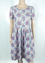 LuLaRoe Amelia Gray Purple Pink Floral Rose Pleated Fit & Flare Shirt Dr... - $20.57