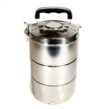 STAINLESS STEEL INSULATED 3 TIER LUNCH BOX 1.8 liter 60 oz Bento Tiffin ... - $28.88