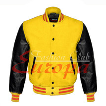 American Unisex Black Real Leather Sleeves Letterman College Varsity Wool Jacket - $87.11+