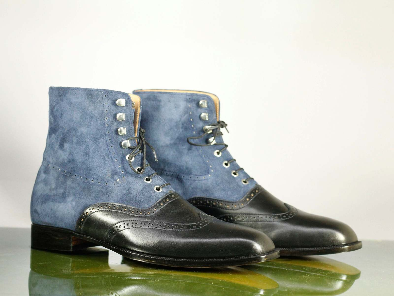 Handmade Black Leather & Blue Suede High Ankle Lace Up Wing Tip Boots For Men