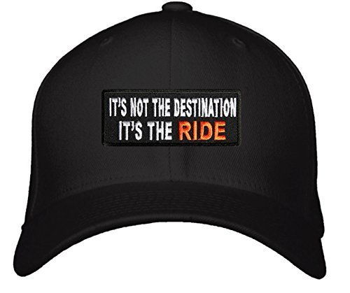 It's Not The Destination It's The Ride Hat - Adjustable Mens Black/White/Orange