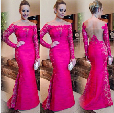 lace prom Dress,hot pink Prom Dress,long prom dress,long sleeves prom dresses