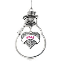 Inspired Silver #BAE White Candy Pave Heart Snowman Holiday Ornament - $14.69