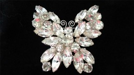 Vintage Gold Tone Juliana Crystal Glass Butterfly Brooch Pin - $125.00