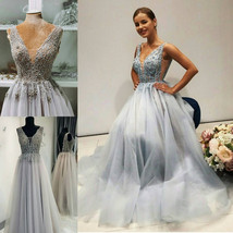 Grey wedding dress, tulle prom dress, Color wedding dress, V cut dress - $514.49