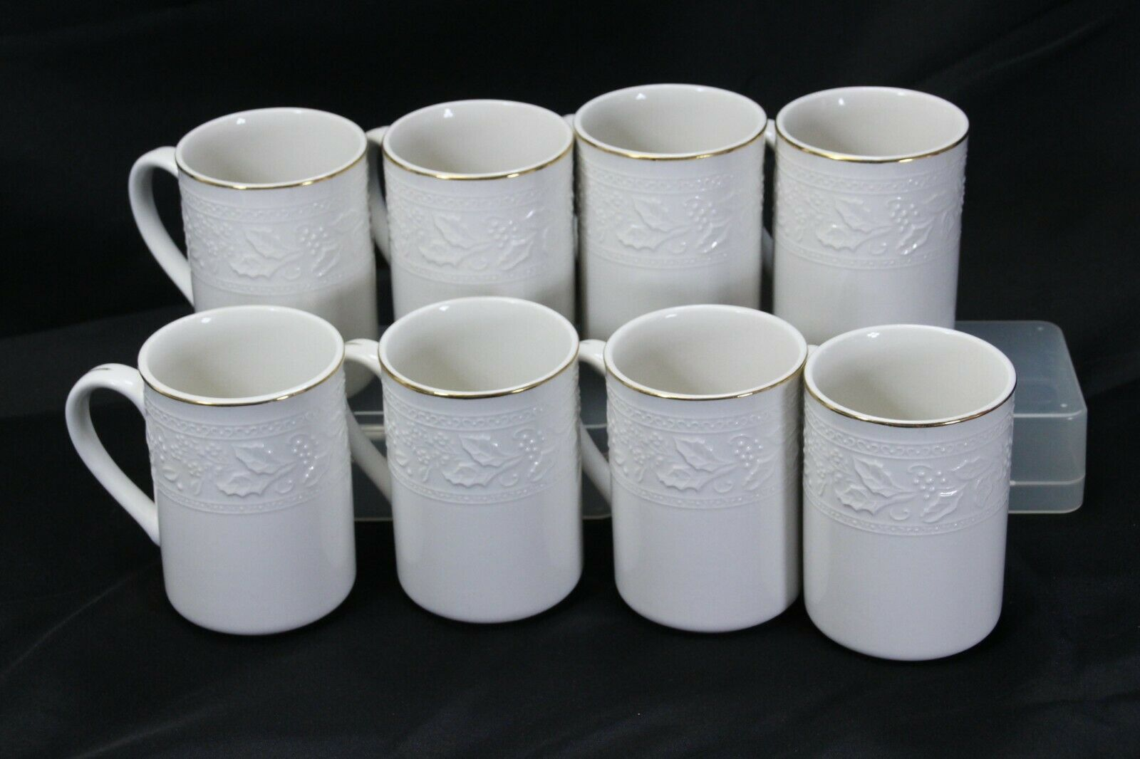 """Libbey White Embossed Holly Cups Mugs Xmas Gold Trim 4.25"""" Lot of 8"""