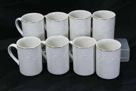 "Libbey White Embossed Holly Cups Mugs Xmas Gold Trim 4.25"" Lot of 8 - $48.99"