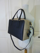 NWT Gianni Notaro Black/Beige Saffiano Leather Satchel Bag - Made in Italy - $196.02