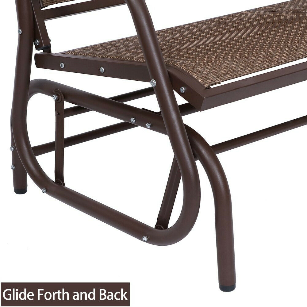 Outdoor Swing Glider Chair Patio Bench 2 Person Garden Rocking Seating Brown