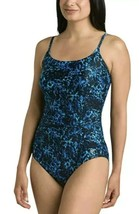 Speedo Women's Athletic Modest Coverage One Piece Swimsuit Blue Size 6 N... - $14.99