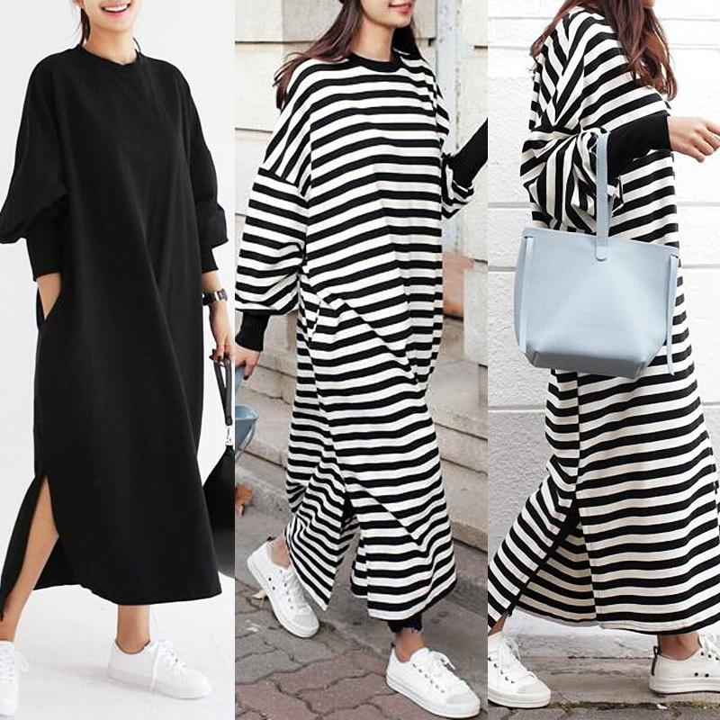 ZANZEA Fashion Ladies Casual Oversized Batwing Sleeve Striped Long Tops Baggy Ma