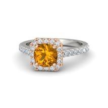 Solid 18k White Gold Orange Sapphire Round Cut Prong Setting Womens Wedd... - £409.77 GBP