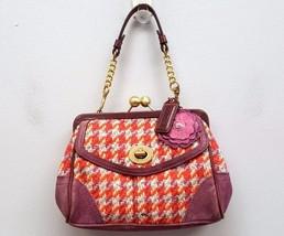 COACH Small Pink Wool Kisslock Flower Suede Tweed Purple Handle Bag Hand... - $64.75