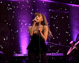 Ariana Grande singing black evening dress 16x20 Canvas Giclee - $69.99