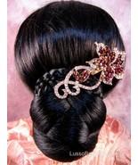 "Austrian Crystal Hair Claw Clip ""Catalina"" Pink free organza bag - $16.75"