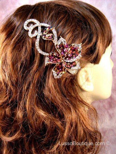 "Austrian Crystal Hair Claw Clip ""Catalina"" Pink free organza bag"