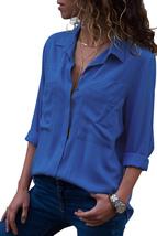 Ocean Blue Covered Placket Button Down Shirt  - $22.47