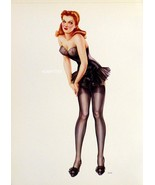2 Old Vargas 1942 Pinup Girls Red Head  in Black Stockings/Lingerie & Bl... - $13.69