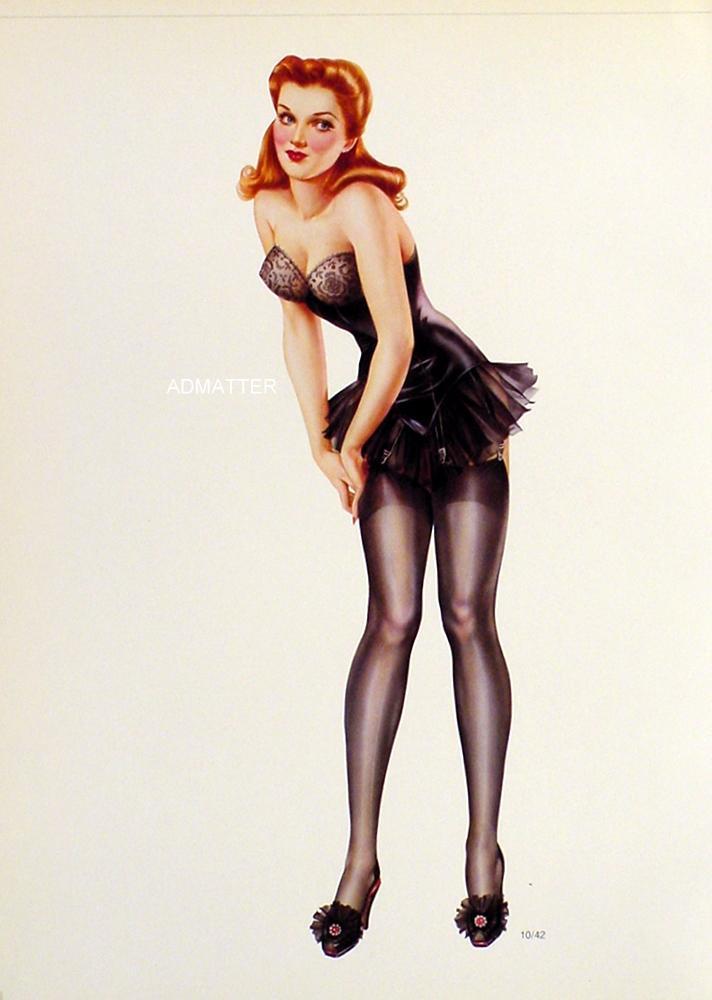 2 Old Vargas 1942 Pinup Girls Red Head  in Black Stockings/Lingerie & Blonde