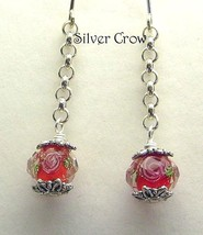 Red Faceted Lampwork Floral Chain Earrings - $10.99