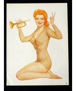 Vargas 2-Sided Print 1943 Pin-up Girls ARMY  BUGLER & OPPS! Mistake Miss... - $10.17