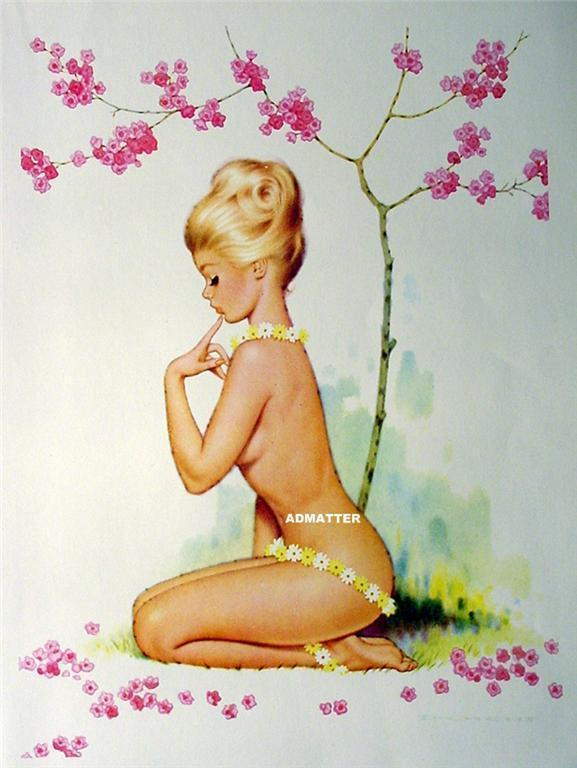 Vintage 2-sided Pin-up girl print from Archie Dickens Painting