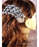 "Austrian Crystal Hair Claw Clip ""Eli"" Sapphire Clear Black free organza... - $16.75"