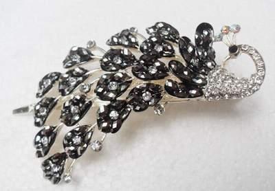 """Austrian Crystal Hair Claw Clip """"Eli"""" Sapphire Clear Black free organza bag"""
