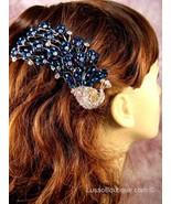"""Austrian Crystal Hair Claw Clip """"Eli"""" Sapphire Blue free organza bag - $16.75"""
