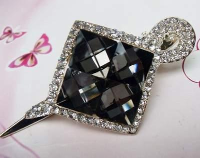 """Austrian Crystal Hair Claw Clip """"Eve"""" Sapphire Clear Gray free organza bag"""
