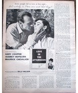 Gary Cooper Audrey Hepburn Love In The Afternoon 1957 Magazine Ad Very Good - $4.99
