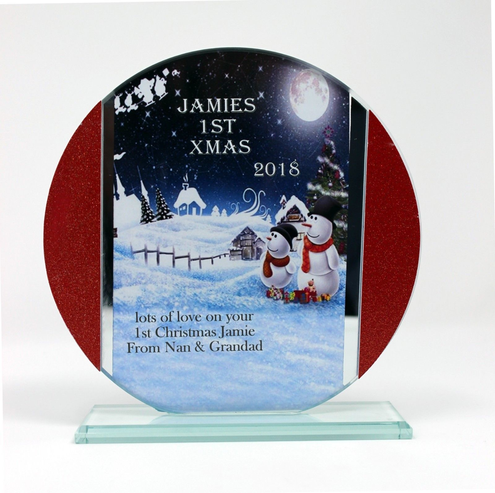 Snowmen Baby's First Christmas, Cut Glass Round Plaque | Cellini Plaques #1