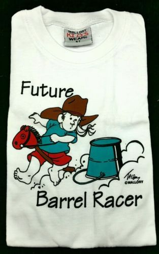 Primary image for T-Shirt FUTURE BARREL RACER Western Youth Tee Cowgirl Rodeo Girl Stick Horse Hat