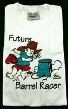 T-Shirt FUTURE BARREL RACER Western Youth Tee Cowgirl Rodeo Girl Stick H... - $6.64+