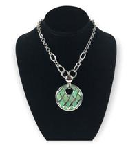 Lia Sophia Silvertone Green Enameled Pendant Necklace - $19.79
