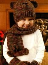 Y772 Crochet PATTERN ONLY Teddy Bear Motif Hat, Scarf & Mittens Set for ... - $8.50