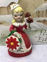 Rare Vintage Red Flocked Christmas Lady Shopper Girl Ceramic Porcelain F... - $39.95