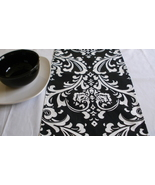 TABLE RUNNER Traditions Damask Osborne White on Black Print - $14.95
