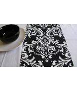 TABLE RUNNER Traditions Damask Osborne White on Black Print - $14.95