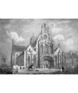 FRANCE Royal Monastery at Brou  - SUPERB 1843 Antique Print - $39.60