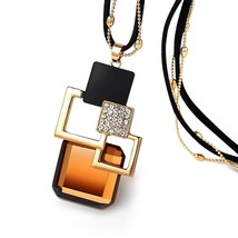 18Bre Long geometric Statement Golden bead+Leather chain punk Fashion big Crysta - $12.81