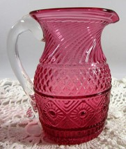 Antique Cranberry Patterned Glass Creamer Pitcher Clear Applied Handle P... - $9.41
