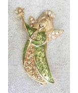 Enchanting Rhinestone Enamel Golden Fairy with Wand Brooch - $14.80