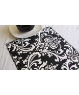 TABLE SQUARE Damask White Print on Black Traditions Osborne  - $7.50
