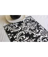 TABLE SQUARE Damask White Print on Black Traditions Osborne  - $7.50