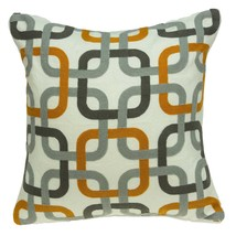 """20"""" x 0.5"""" x 20"""" Transitional Gray and Orange Accent Pillow Cover - £36.70 GBP"""