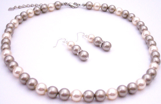 Primary image for Affordable Swarovski Wedding Holiday Gift Platinum Ivory Pearls