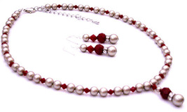 Platinum Champagne Pearls w/ Coral Red Crystals Low Prices - $41.98