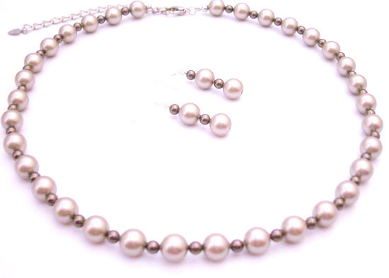 Primary image for Spectacular Attractive Jewelry Platinum Champagne w/ Brown Pearls Set